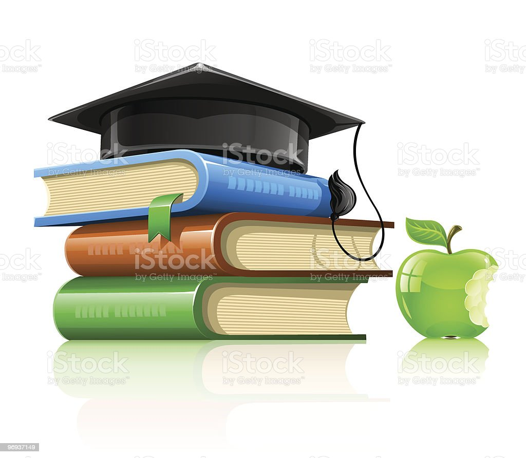 pile of school books with professor's cap and apple royalty-free pile of school books with professors cap and apple stock vector art & more images of apple - fruit