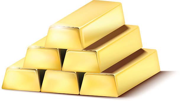 Pile of shiny gold bars Pile of shiny gold bars on the white background - vector illustration ingot stock illustrations