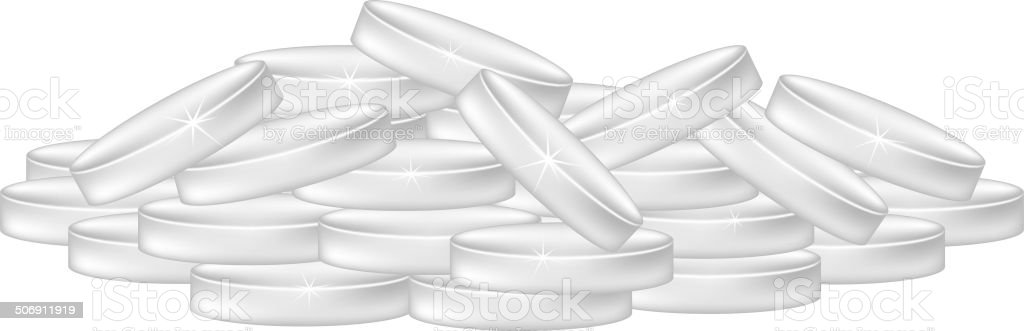 Pile of silver coins royalty-free stock vector art