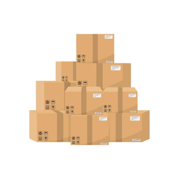 ilustraciones, imágenes clip art, dibujos animados e iconos de stock de pila de cajas de cartón apiladas aislado sobre fondo blanco. ilustración de vector. - suministros escolares
