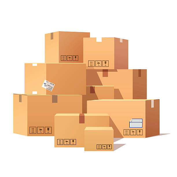 Pile of stacked sealed goods cardboard boxes Pile of stacked sealed goods cardboard boxes. Flat style vector illustration isolated on white background. full stock illustrations