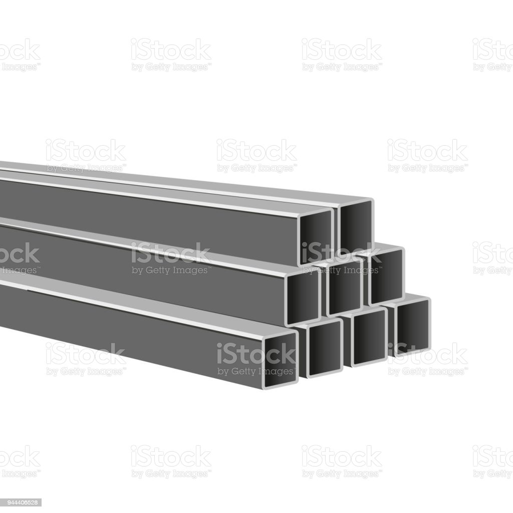 Pile of steel square tubes vector art illustration