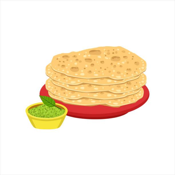 haufen von tortilla brot traditionelle mexikanische küche teller food-artikel von cafe-menü-vektor-illustration - tortillas stock-grafiken, -clipart, -cartoons und -symbole