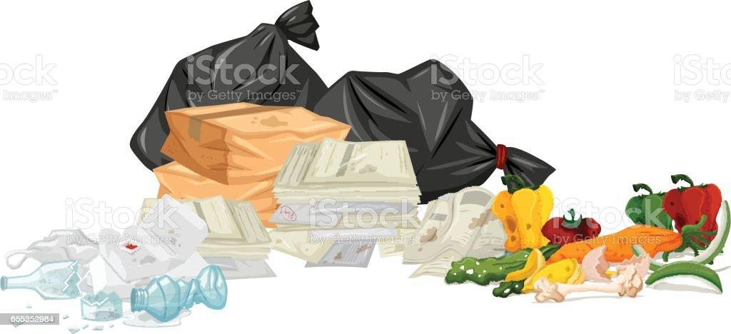 Pilha de lixo com jornais e comida podre - ilustração de arte em vetor