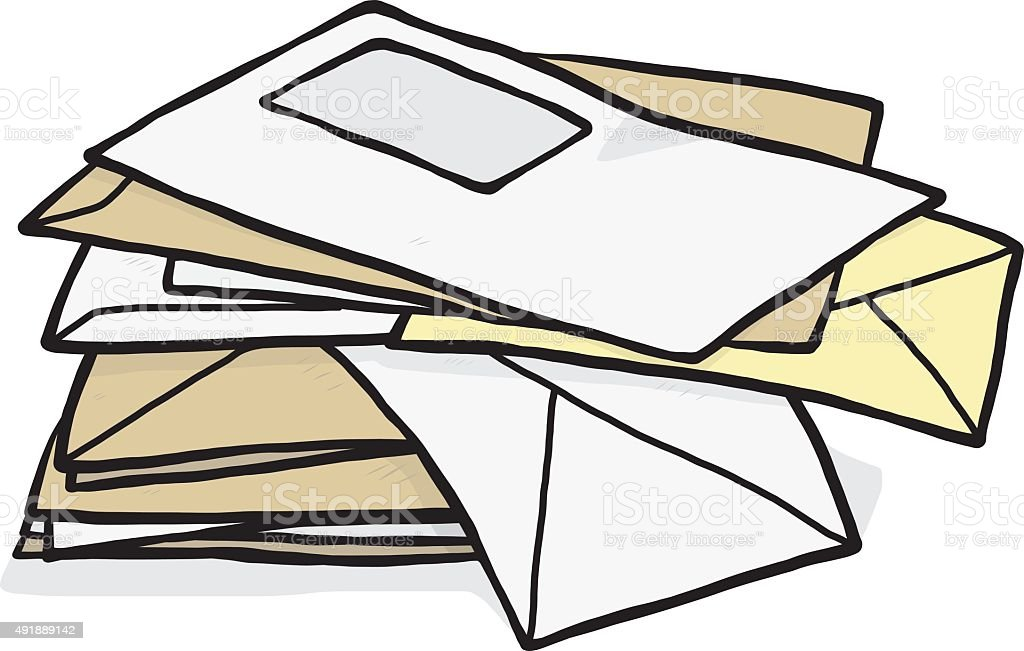 pile of used envelope vector art illustration