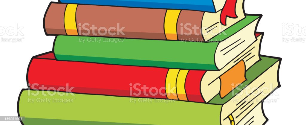 Pile of various color books royalty-free stock vector art