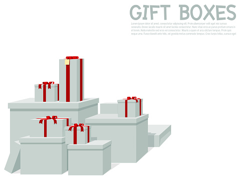 Pile of white gift box on transparent background