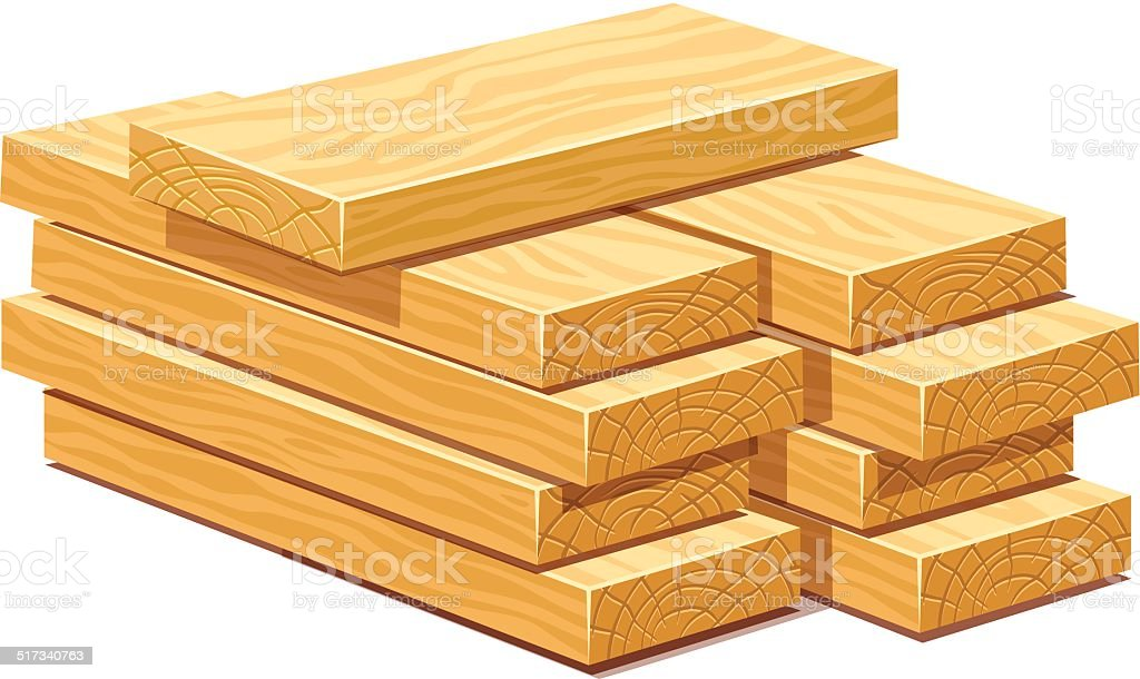 Pile of wooden timber planks vector art illustration