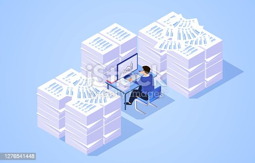 istock Pile of work documents piled up around busy working businessman 1276541448