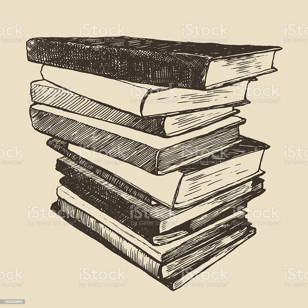 Pile old books vintage drawn vector sketch vector art illustration