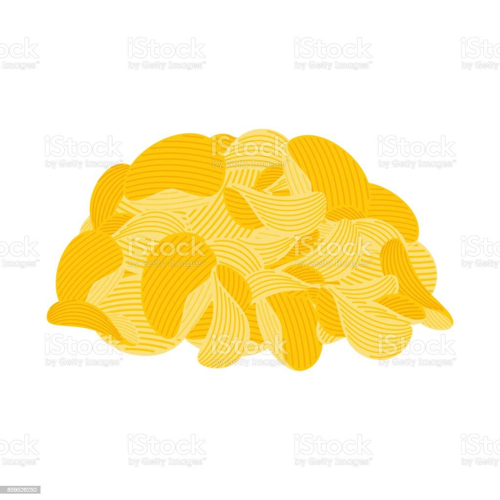 pile potato chips isolated. Fast food. fried potatoes vector illustration vector art illustration