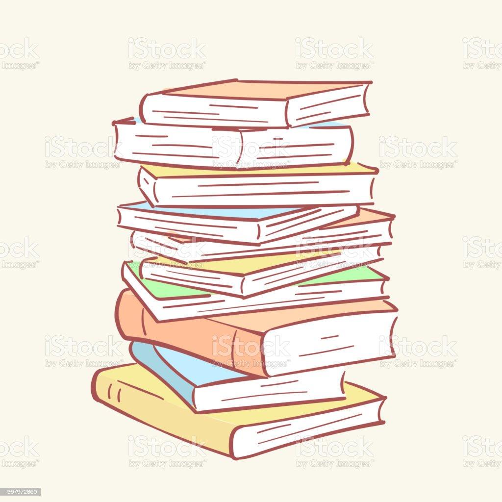 Pile Pile Livres Main Dessinee Style Vecteur Doodle