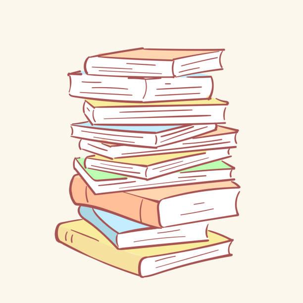 Pile stack books hand drawn style vector doodle design illustrations vector art illustration