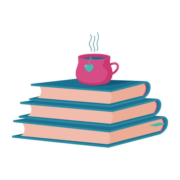 Pile, stack of three thick hardcover books with cup of hot tea, coffee on top, reading club, bookstore, book blog logo template, cute flat style vector illustration on white background Pile, stack of three thick hardcover books with cup of hot tea, coffee on top, reading club, bookstore, book blog logo template, cute flat style vector illustration on white background book club stock illustrations