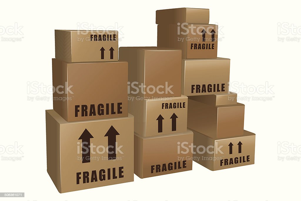 Piles of cardboard boxes vector vector art illustration