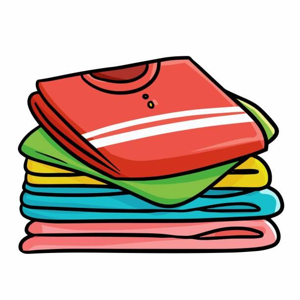 stockillustraties, clipart, cartoons en iconen met stapels van kleurrijke kleding - clothes