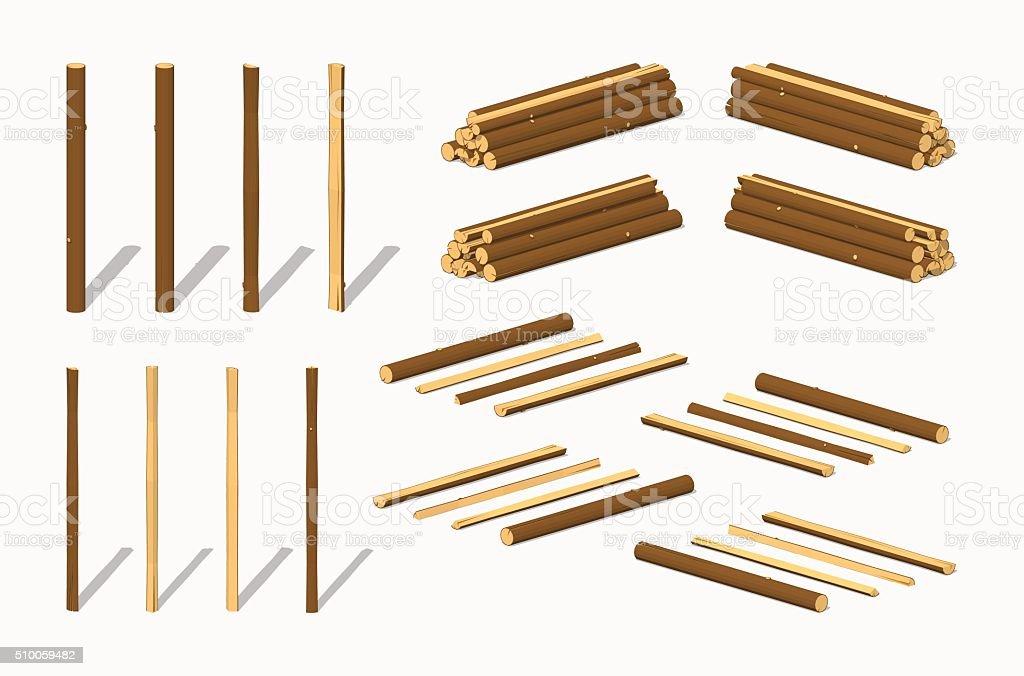 Piles of logs vector art illustration