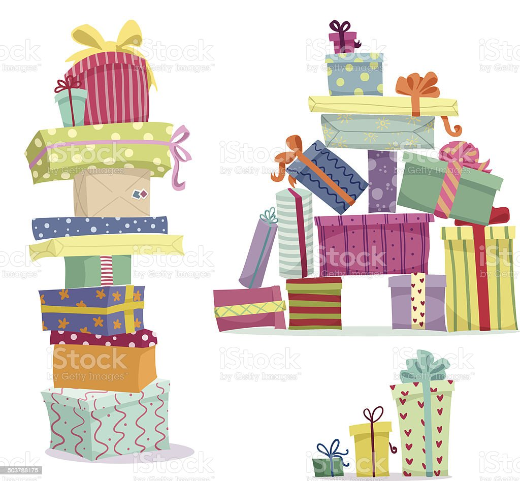 Piles of presents. Doodle heaps of gift boxes vector art illustration