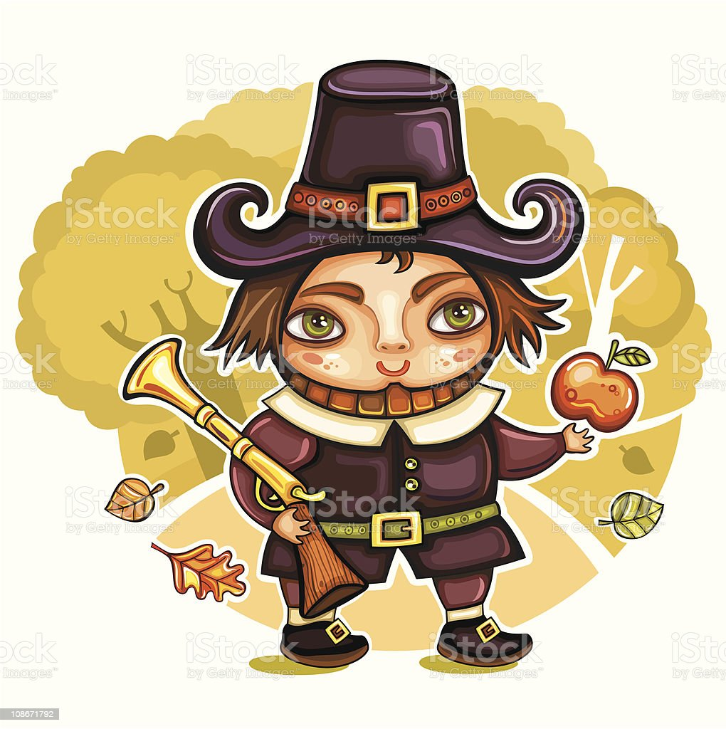 Pilgrim boy royalty-free stock vector art