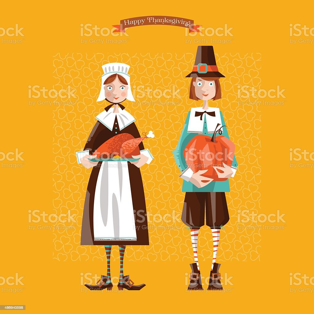 Pilgrim couple. Thanksgiving card. vector art illustration