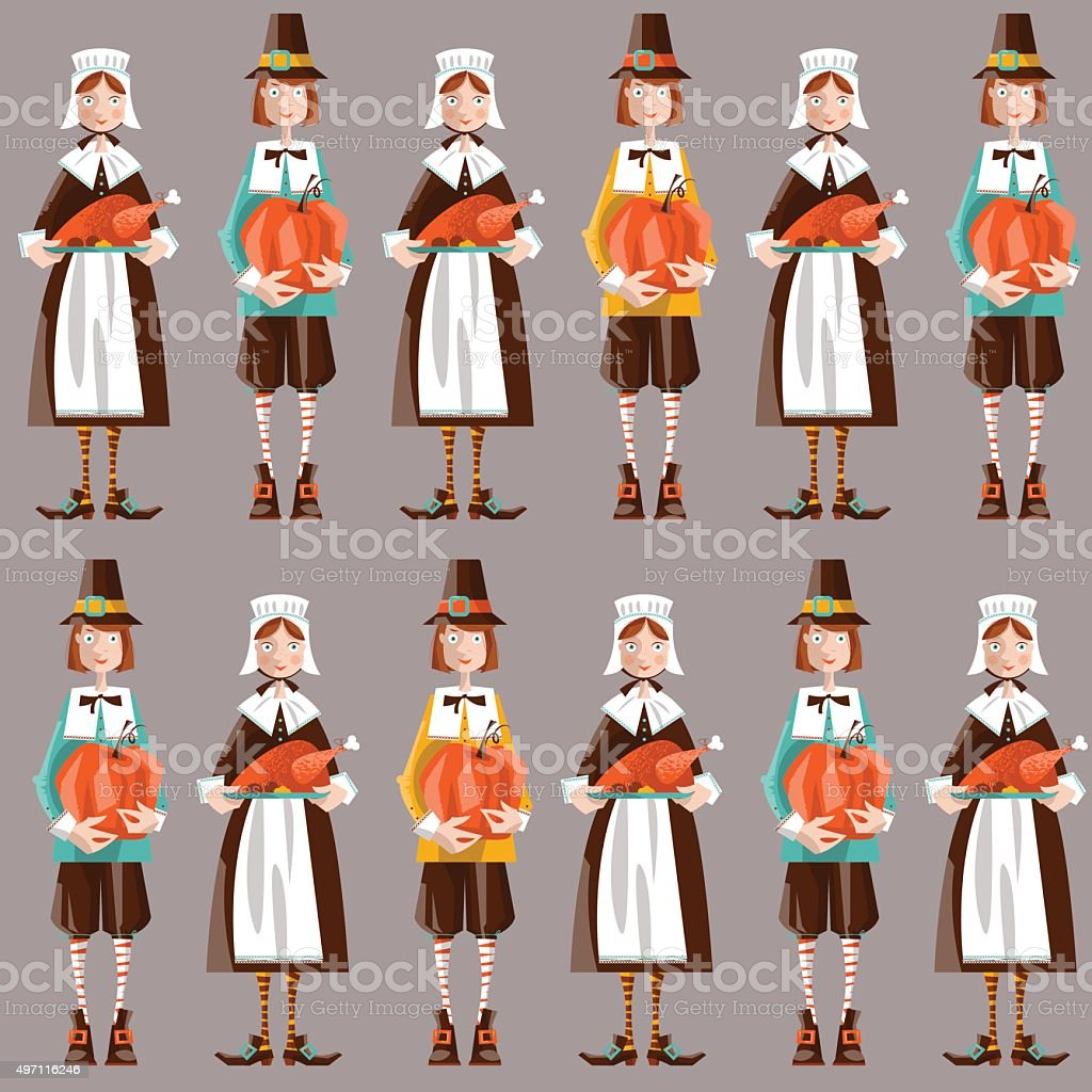 Pilgrim couple. Thanksgiving. Seamless background pattern.