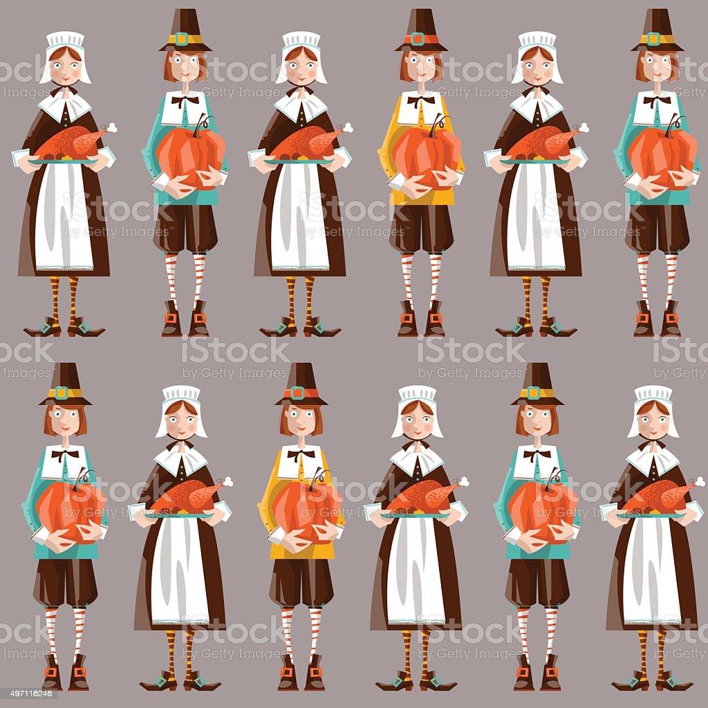Pilgrim couple. Thanksgiving. Seamless background pattern. vector art illustration