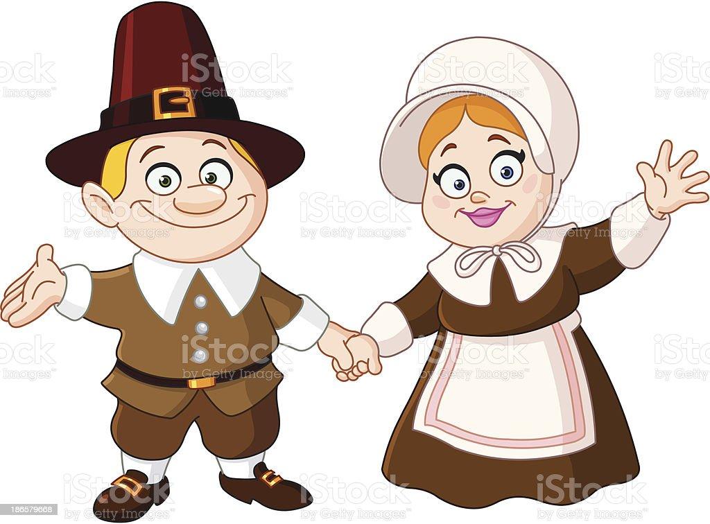 Pilgrim couple vector art illustration