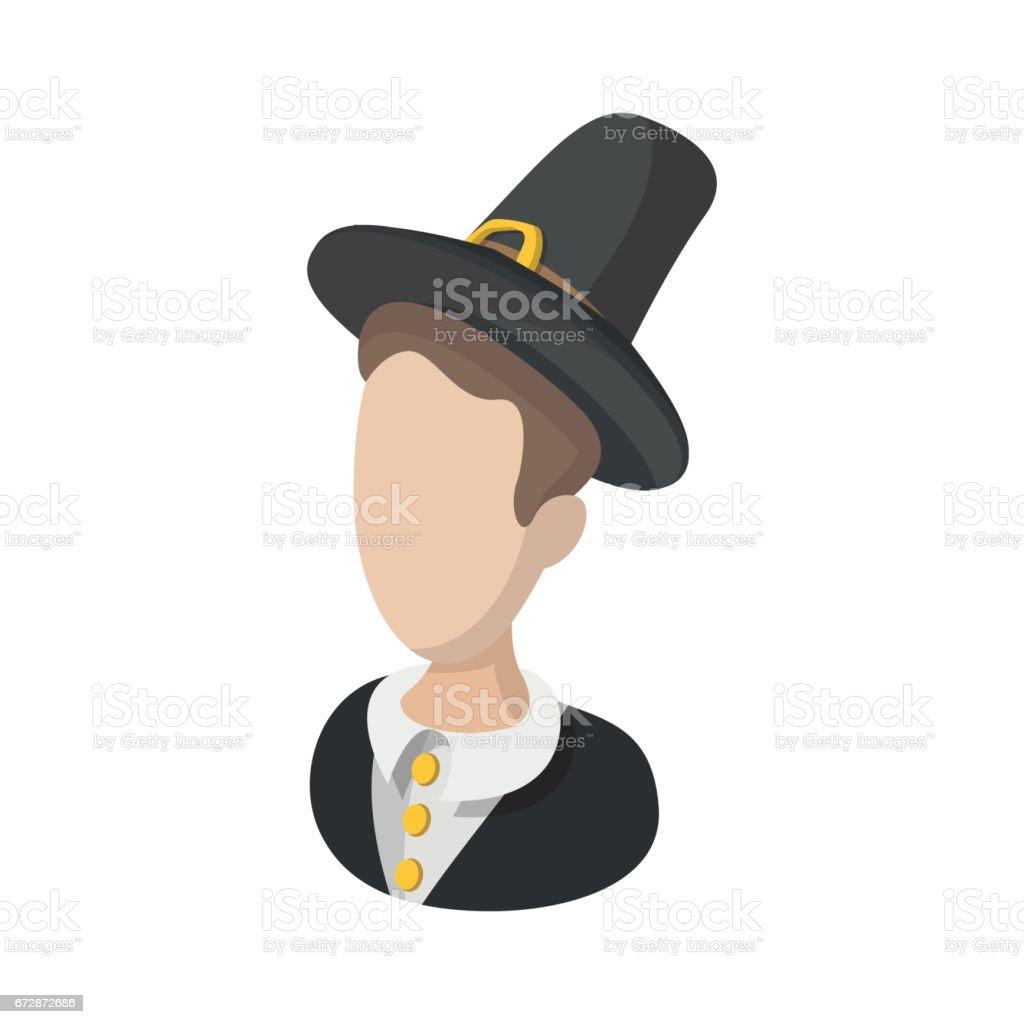 Pilgrim man cartoon icon vector art illustration