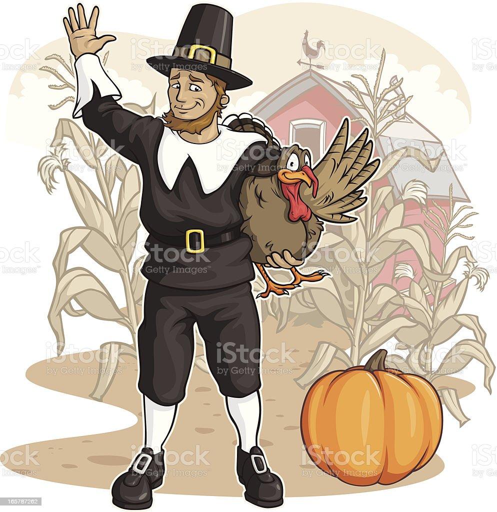 Pilgrim on the Farm vector art illustration