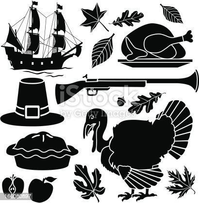 Vector icons with an American Thanksgiving theme featuring the Mayflower, a Pilgrim hat and musket, an apple pie and a live and a roasted turkey.