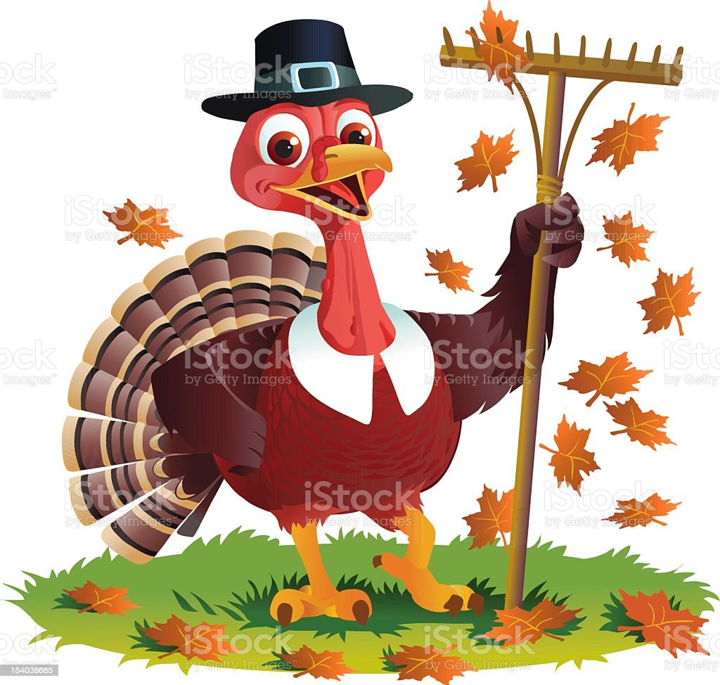 Pilgrim Turkey and Autumn Leaves vector art illustration