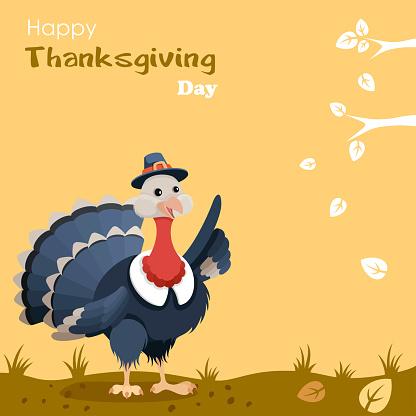 Pilgrim turkey. Thanksgiving design.