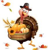 cartoon illustration of pilgrim turkey holding basket full of harvest pumpkins, wheat and berry with autumn leaves