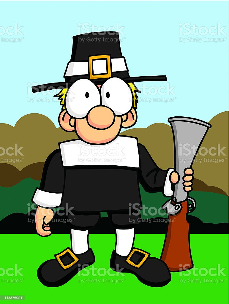 Pilgrim with Musket royalty-free stock vector art