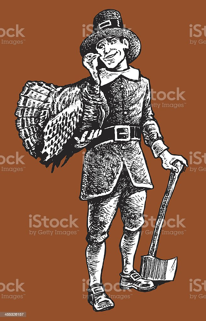 Pilgrim with Thanksgiving Turkey royalty-free stock vector art