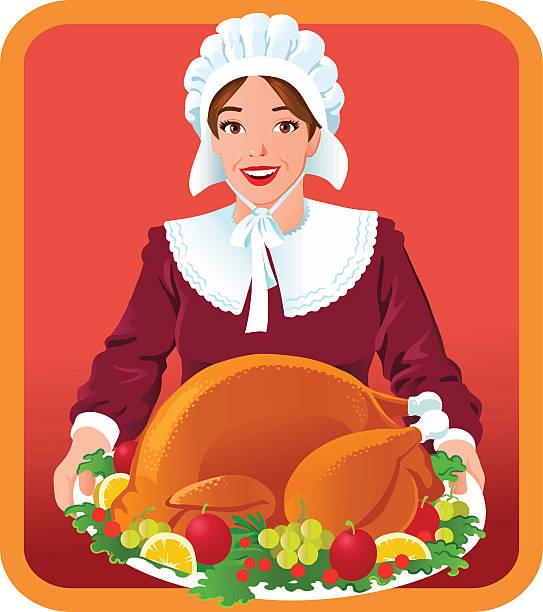 pilger frau mit thanksgiving gebratener truthahn - hauben stock-grafiken, -clipart, -cartoons und -symbole