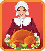 Pilgrim Woman with Thanksgiving Roasted Turkey