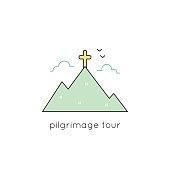 Pilgrimage line icon