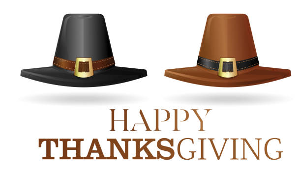 Pilgrims hat set Pilgrims hat set. Black and brown pilgrim hat. Collection hats of the first settlers. Happy Thanksgiving. Vector illustration isolated on white background art deco district miami stock illustrations