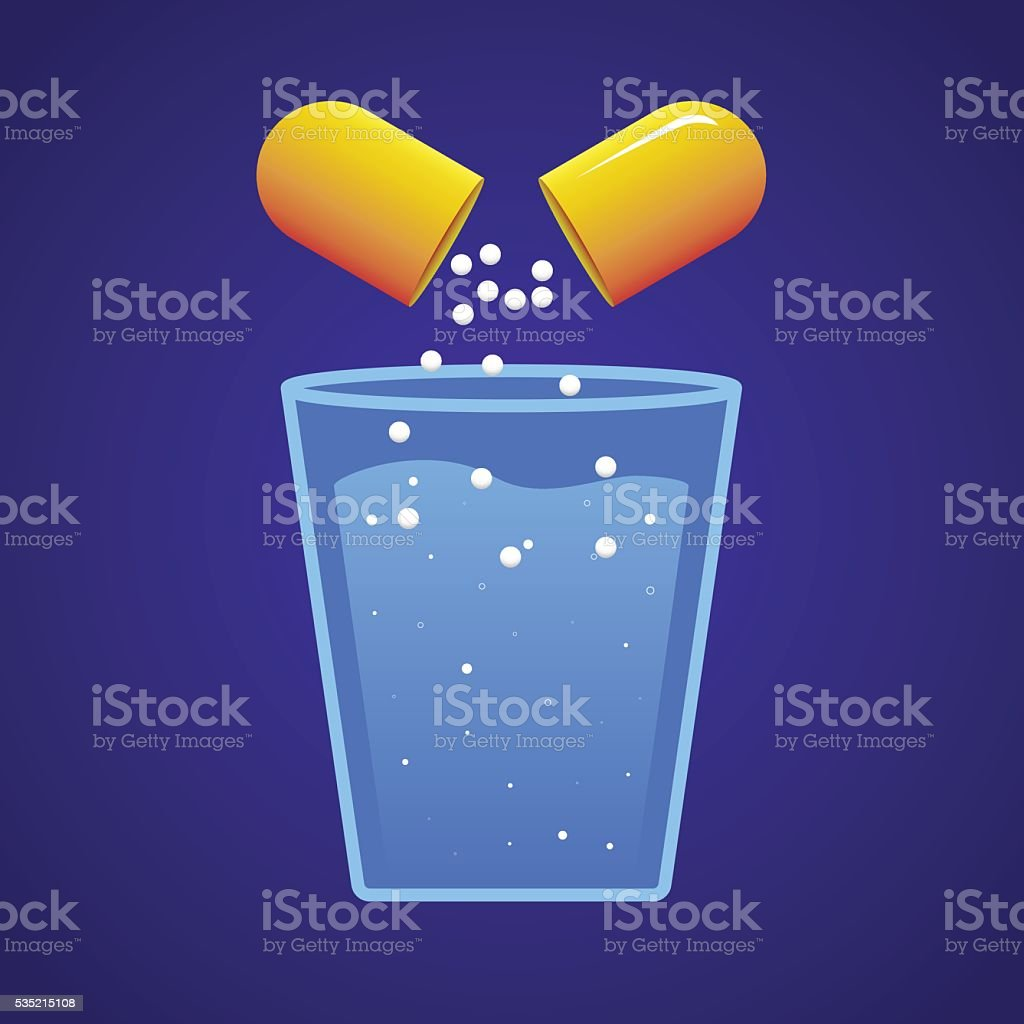 Pill and a Glass of Water vector art illustration