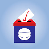Vector illustration of a red and blue ballot box with a white pill on it.
