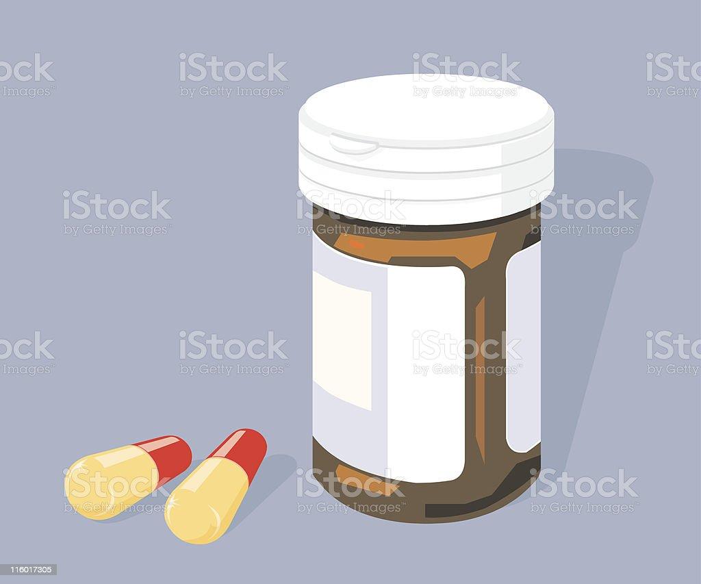 Pill bottle and Pills vector art illustration