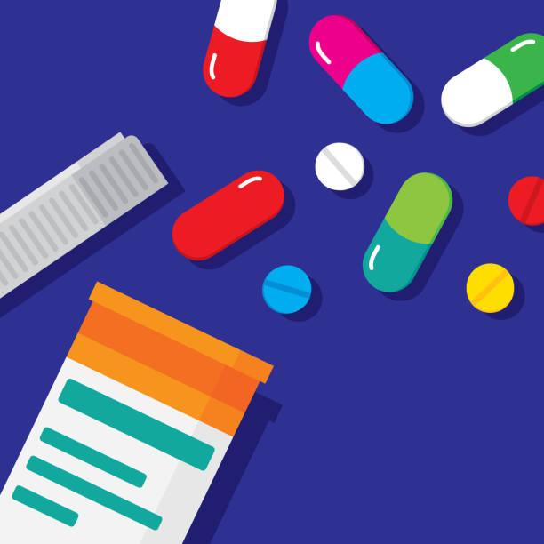illustrazioni stock, clip art, cartoni animati e icone di tendenza di pill bottle flat - antibiotico