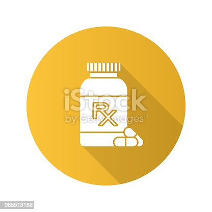 RX pill bottle flat design vector icon. Medical prescription