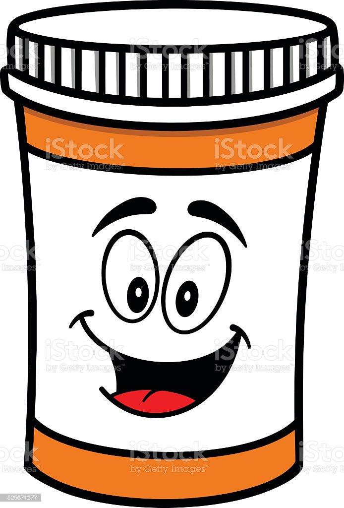 Pill Bottle Mascot vector art illustration