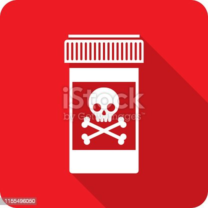 Vector illustration of a red bottle with skull icon in flat style.