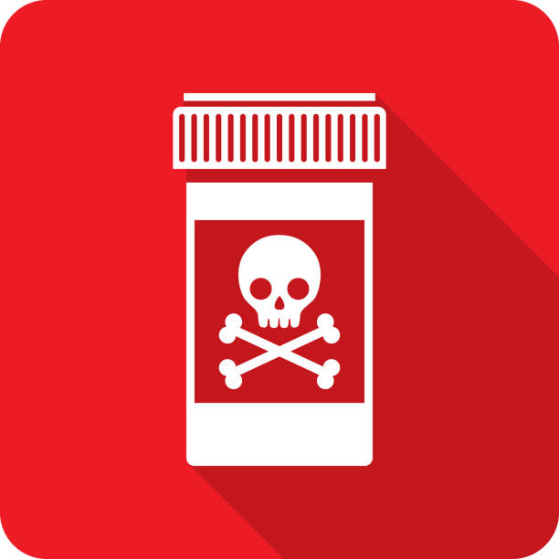 Pill Bottle Skull Icon Silhouette Vector illustration of a red bottle with skull icon in flat style. poisonous stock illustrations