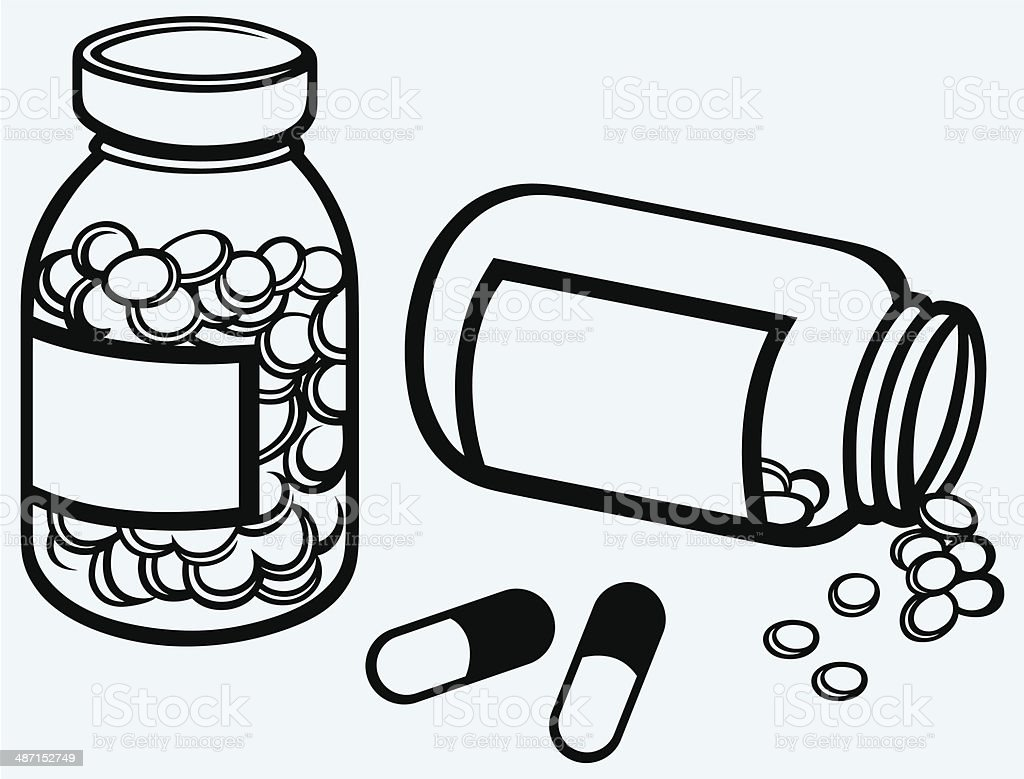 Pill bottle. Spilling pills on to surface vector art illustration