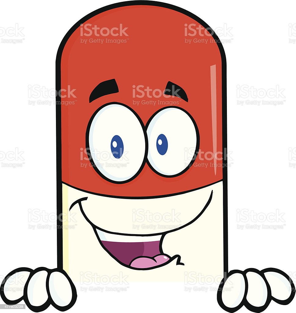 Pill Capsule Over Blank Sign royalty-free stock vector art