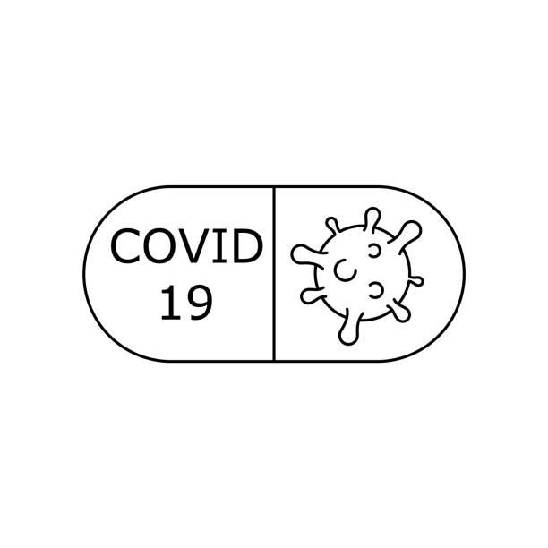 ilustraciones, imágenes clip art, dibujos animados e iconos de stock de píldora covid-19. curación de la infección por coronavirus. medicamentos antivirales. - remdesivir